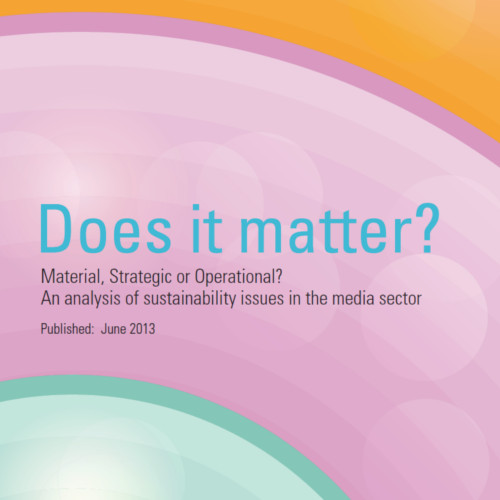 Does It Matter? An analysis of sustainability issues in the media sector